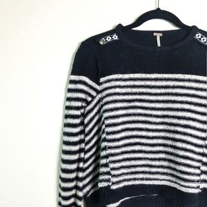 Free People Striped Pullover Sweater